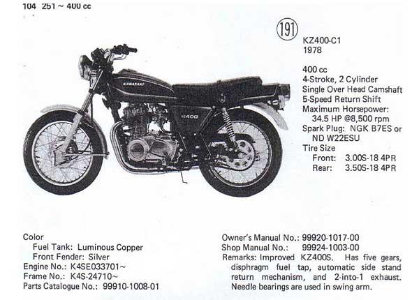 kawasaki 440 engine specs