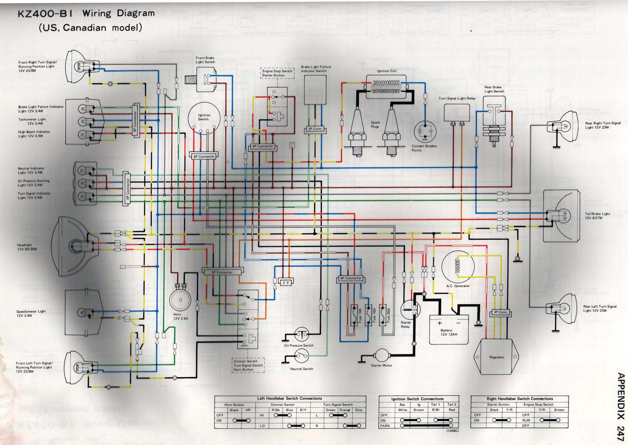 simple wiring diagram refrigerator 78 kz400 lighting - signals & gauges - kzrider forum ... kz400 simple wiring diagram